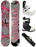 Airtracks Damen Snowboard Set/Stripes Lady Rocker 144 + Snowboard Bindung Master W + Snowboardboots Star W 39 + Sb Bag