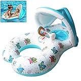 Qilerongrong Baby Schwimmsitz Schwimmhilfe Schlauchboot Schwimmreifen, Doppel schwimmring Schwimmhilfen Schwimmen Ring für Baby von 6 Monaten bis 3 Jahre und Mutter