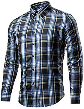 DOOXIUNDIuomini eleganti slim fit cotone manica lunga camicia scozzese.