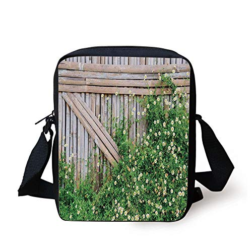 LULABE Farm House,Bamboo Fence Covered by Ivy Daisy Flower Blooms Chamomile Petals Picture,Green Light Brown Print Kids Crossbody Messenger Bag Purse