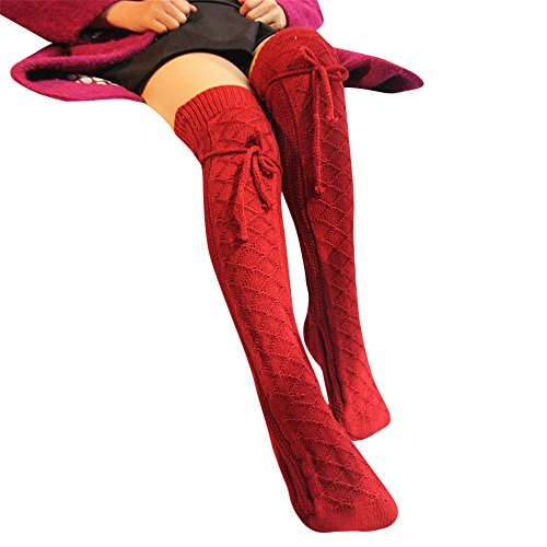 Deloito Damen Kabel Stricken Über das Knie Lange Stiefel Strümpfe Winter warm Hoch Weiche Socken Gamaschen (Rot)