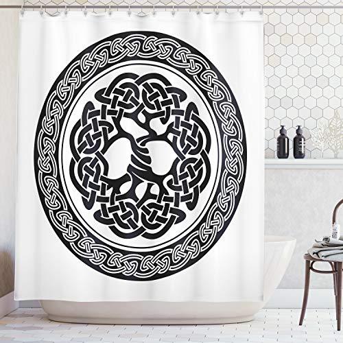 ABAKUHAUS Duschvorhang, Native Keltischer Baum des Lebens Irland Frühe Renaissance Arts Medaillon Design Druck, Blickdicht aus Stoff inkl. 12 Ringe für Das Badezimmer Waschbar, 175 X 200 cm