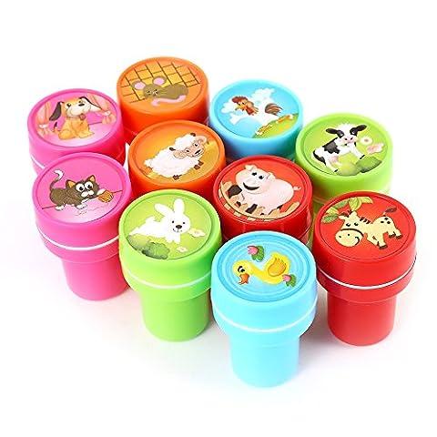 Lugii Cube 10pcs Assorties animaux de la ferme timbres fêtes d'enfants favorise les Fournitures d'événements pour fête d'anniversaire Cadeau Jouets