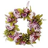 P Prettyia Türkranz Wandkranz Blumenkranz Blütenkranz Dekoration für Jede Raum, mit Rosen und Rattan Design - Dunkel Rosa