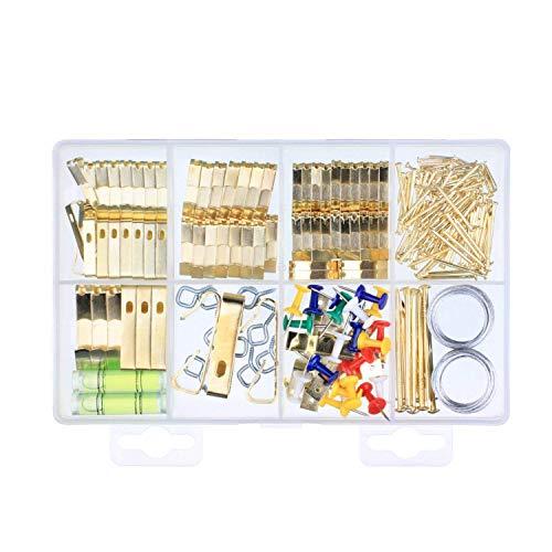 222 PCS Photo Cadre Crochets Moyenne Image Cintres Suspendus Assortiment Kit pour le montage mural (Contient Niveau d'esprit) 10lbs 20lbs 30lbs 50lbs 100lbs