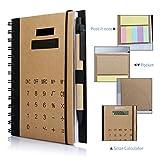 Betterhill Exclusiv B5 Organizer mit Ringbuch,Solar Rechner,Ringbuch,inkl. B5-Schreibblock Mit Stift,60 Seiten 18 x 14.5 x 2.5CM Braun