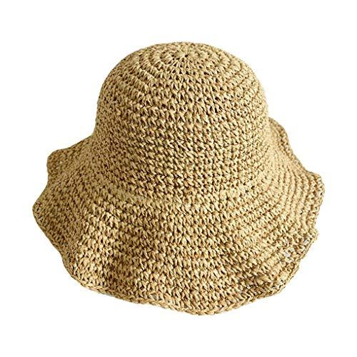 BoburyL Faltbares Sommer-Outdoor-Reisen Strand Frauen Wide Brim Hat Mädchen Sun Cap Lady UV-Schutz Panama Cap