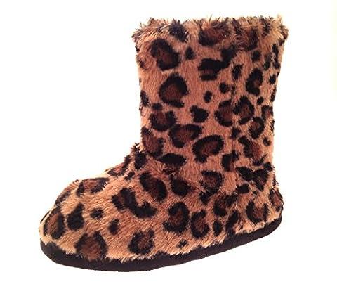 Damen Hausschuhe/Hausstiefel - Kunstfell & Ziersteine - Warm für den Winter - Braun Leopard - L (40-41)