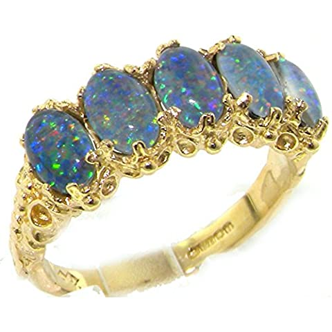 Victorian Design Solid English Yellow 9ct Gold Colorful Opal Ring - Size P - Finger Sizes K to Z Available - Suitable as an Anniversary, Engagement or Eternity