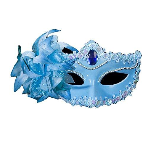 (PromMask Masken Gesichtsmaske Gesichtsschutz Domino falsche Front Halloween Maske Weibliches Make-up Tanz Halb Gesicht des Erwachsenen Sexy Venedig Maske Blau)