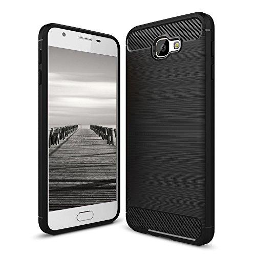 MyCase für Samsung Galaxy J5 Prime / ON5 (2016) Armor Cover | SCHWARZ | Schutz Handy Hülle TPU Silikon Case Carbonfibre | Schutz Handyhülle Schale Weich Dünn Tasche