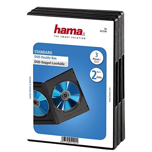Hama Hama DVD-Doppelhülle (Auch passend für CDs und Blu-rays, Mit Folie zum Einstecken des Covers) 3er-Pack, schwarz