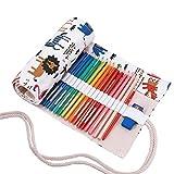 Amoyie trousse à crayon enroulable pour 36 crayons de couleur, sacs organiseurs de toile, porte-crayons pochettes rouleaux, enveloppe de crayon, motif animal