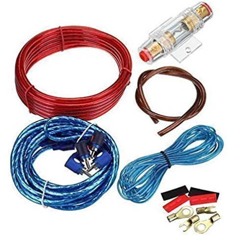 Ridgeyard 1500W Amplificador de coches alambre cableado Kit 10GA 60 AMP Car Audio Sub / Cable Power