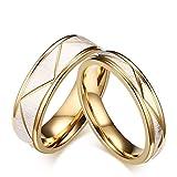 Beydodo 2 Edelstahl Trauring Herren Damen Gold Matt V Breite 6/4 mm Rund Partnerring Gold Verlobung Ringe Damen Gr. 57 (18.1) & Herren Gr. 62 (19.7)