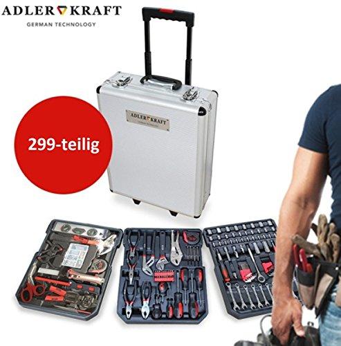 Adler Kraft 299-teiliger Alu Werkzeugkoffer Trolley mit Werkzeug gefüllt Profi } 3 Ebenen |...
