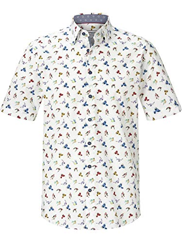 Shirt Master Herren Kurzarmhemd Paradisebirds (Hawaii-Hemd, Vogel-Motiv) weiß 2XL (XXL) - 45/46