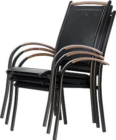 IB-Style - DIPLOMAT Gartenstuhlset Stapelbar | ALU SCHWARZ + TEAKHOLZ + Textilen SCHWARZ | 2 Farben | 3 Set- Kombinationen | Mehrfach gewebt - Gartenstuhl Stapelstuhl Sessel Gartenmöbel Gartengarnitur - 6er (Stapelbare Teile)