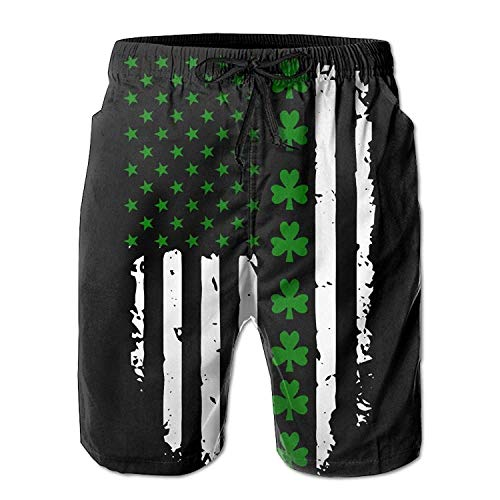 XIAOYI American Flag Men Summer Casual Beach Shorts Quick Dry Swim Trunks with Pockets - L