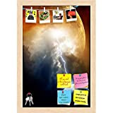 ArtzFolio Big Red Planet Attacks Small Planet Earth Printed Bulletin Board Notice Pin Board cum Natural Brown Framed Painting 12 x 17.5inch