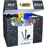 BIC 933953 Boîte de 124 Produits de stylos-bille/porte-mines/rubans correcteurs/marqueurs/feutres