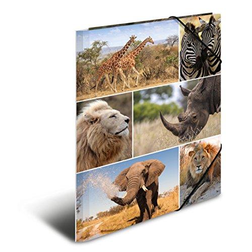 Herma 19214 Sammelmappe DIN A4 Karton, Serie Tiere, Motiv Afrika mit Gummi-Eckspanner, 1 Stück