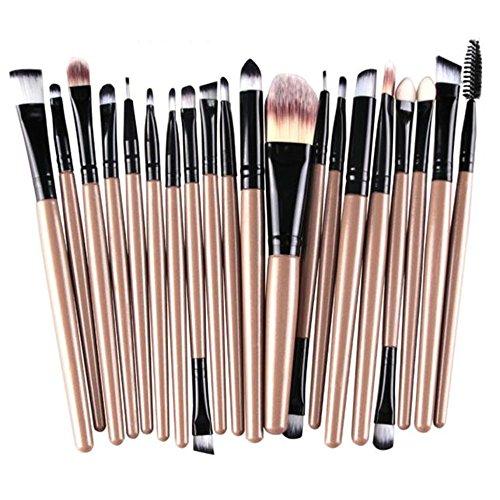 Fami Ensemble de pinceau de maquillage de 20 pièces Ensemble de brosse de maquillage en laine de toilette,Or