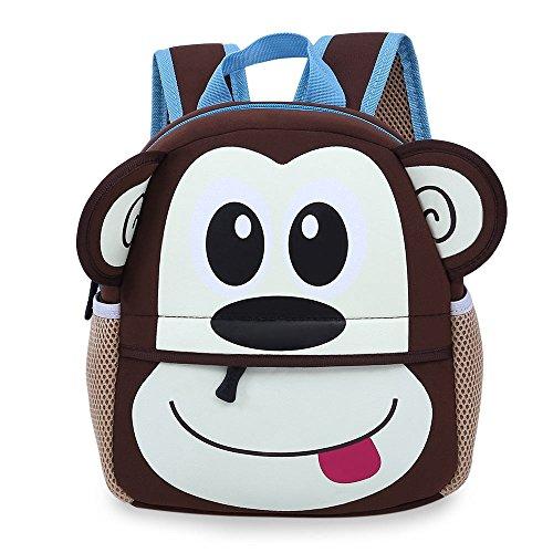 JK Cartoon Kinder Rucksack, doppelte Schultergurt Animal Rucksack Schule Buch Taschen für Baby-Mädchen Jungen affe 8.3