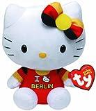 TY 46245 - Exklusive City-Hello Kitty Baby - Berlin mit Schleife, Plüsch, 15 cm, schwarz/rot/gold