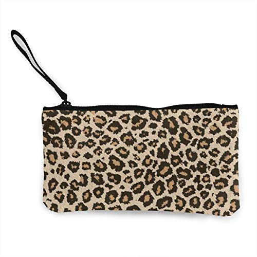 TTmom Damen Leinwand Geldbörse Portemonnaie Geldbeutel, Lady Cool Leopard Skin Purse Clutch Bag Card Holder Key Wallet Pouches with Zip