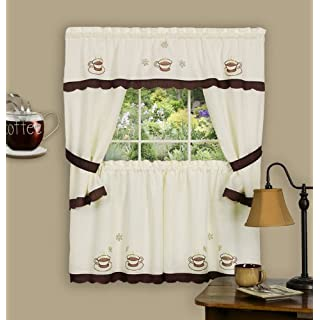 Achim Home Furnishings 58-Inch by 36-Inch Cuppa Joe Embellished Cottage Topper with 58-Inch by 36-Inch Swaggers for Windows