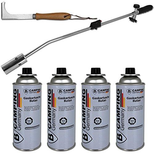 TW24 Unkrautvernichter - Unkraut - Unkrautbrenner mit 4 Gaskartuschen - inkl. Plattenfugenreiniger - 24 Gas-grill-brenner