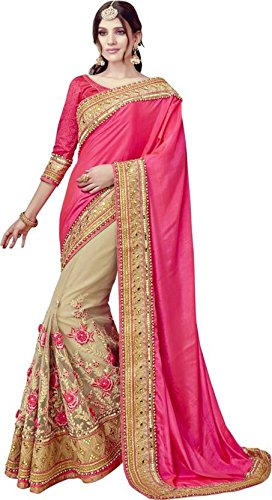 Zofey Designer Sarees Women's Art Silk Embroidered Saree With Blouse Piece(Lakshmi-4003-SAREE01_Pink_COLOUR)