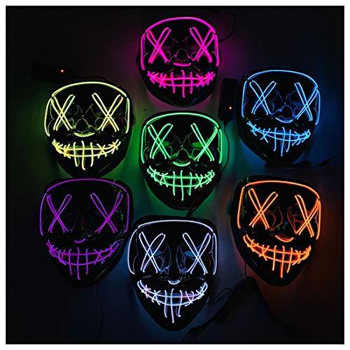 Daft Cosplay Kostüm Punk - GRYY Leuchtende Maske Halloween Weihnachten led kaltlicht Maske v-Wort Maske Cosplay Halloween kostüm,Blue-OneSize