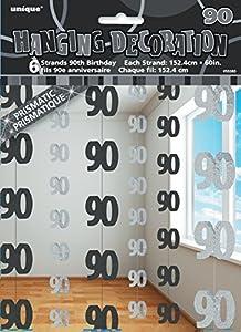 Unique Party- Paquete de 6 Decoraciones cumpleaños, Color negro, edad 90 (55385)