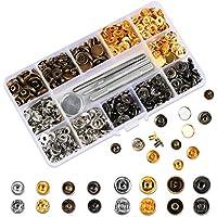 Qliver 120 Sets Druckknöpfe Kupfer Druckknöpfe Bronze Kleidung Snaps Taste mit Fixierwerkzeug Kit für Leder Handwerk Jacke Brieftasche Handtasche (12 mm)