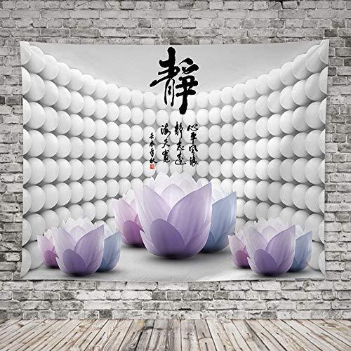 Arazzo da Parete,Zen Cinese Preventivo E Fiori di Loto Large Rettangolare Tessuto di Stampa,Moderno Home Arte Parete Decorazione per Soggiorno Camera da Letto,150X200 Cm