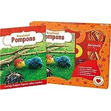 Kreativset Pompons - Lustige Pompon-Figuren selber machen: Set mit Anleitungsbuch, 2 Pomponschablonen, 2 Paar Wackelaugen und Wolle für 1 Modell
