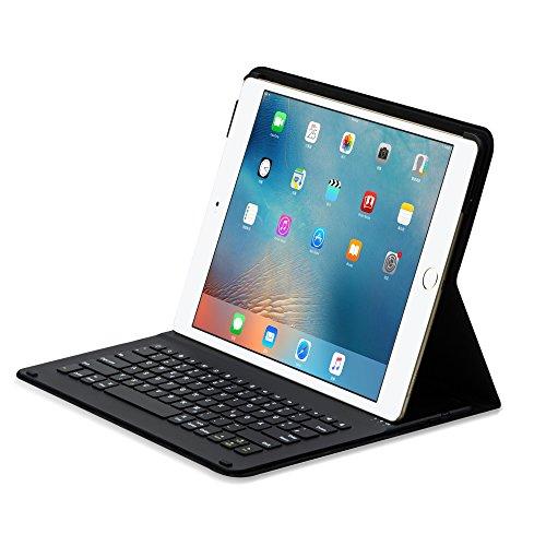 Image of Sharon SI54284 Apple iPad 12.9 (2017) iPad Pro 12.9 Schutzhülle, Case mit Bluetooth-Tastatur Zubehör für iPad Pro Case, Smartcover Schutz Keyboard QWERTZ- Layout Schwarz