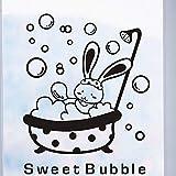 EdmendYang Dusche Glastür Aufkleber Cartoon Tier Bunny süße Blase Wandaufkleber Nette Wasserdichte Baby Badezimmer Dekor Wandkunst Aufkleber