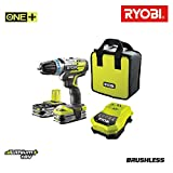 RYOBI - Perceuse-visseuse à percussion Brushless, 18V OnePlus, 2 x 2.5Ah batteries Lithium Plus, Chargeur, Sac de transport R18PDBL-LL25S