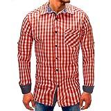 Herren Lattice Denim Langarmshirts,MEIbax Hemden Herren Karohemd Long-Sleeve Beefy Knopf Basic Solid Bluse T-Shirt Top Männer Kariert Langarm Hemd(Rot,L)