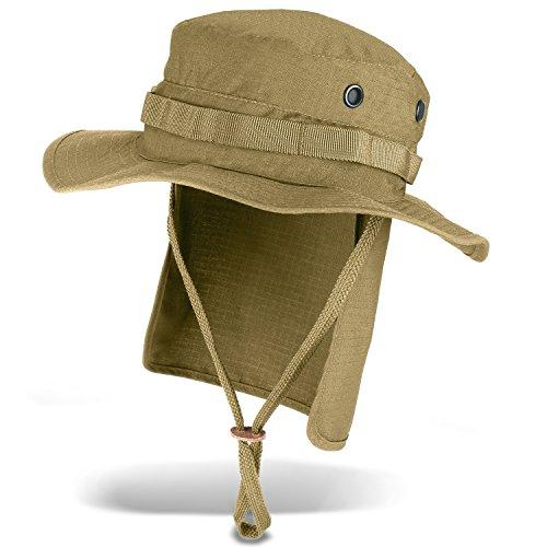 Black Snake Outdoor Safarihut Sonnenhut mit Nackenschutz für Damen und Herren - Beige - ()