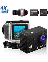 """Action Cam 4K, icefox Unterwasser 30M Sport Action Kamera mit 2 wiederaufladbaren Batterien, WIFI Fernbedienung, 2.0 """"Display, 1080P HD Aufnahme für Tauchen, Motorrad, Surfen, Bootfahren und Skifahren"""