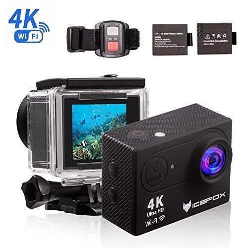 Action Cam 4K, icefox Unterwasser 30M Sport Action Kamera mit 2 wiederaufladbaren Batterien, WIFI Fernbedienung, 2.0
