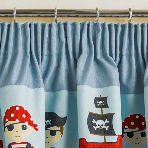 Pirates Childrens Blackout Thermal Pencil Pleat Curtains, Blue - 66