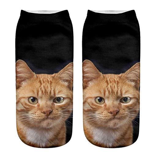 ZZBO Niedliche Söckchen 3D Cartoon Cat und Dog Katze Hund Gedruckt Kurze Socken Frau Mode Fußkettchen Socken Lustige Lässige Socken Unisex Mann Frau