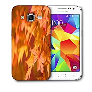 Snoogg Orange Leaves Printed Protective Phone Back Case Cover For Samsung Galaxy Core Plus G3500