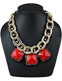 AMNOR Gold Alloy Double Layer Chunky Chain Red Resin Square Choker Necklace For Women