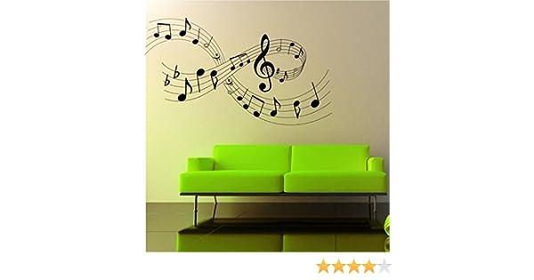 Adesivo a muro tema note musicali dimensioni larghezza cm x